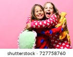friends in pink polka dotted... | Shutterstock . vector #727758760