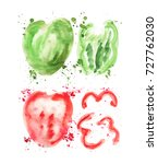 green and red watercolor... | Shutterstock . vector #727762030