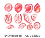 set of red watercolor stylized... | Shutterstock . vector #727762033