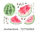 green and red watercolor... | Shutterstock . vector #727762063