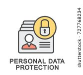 icon personal data protection.... | Shutterstock .eps vector #727768234