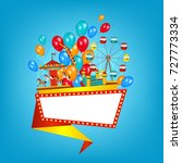 flat style amusement park... | Shutterstock .eps vector #727773334