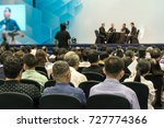 speakers on the stage with rear ... | Shutterstock . vector #727774366