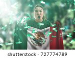 mexican female fan holding the... | Shutterstock . vector #727774789