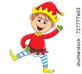 christmas elf cartoon vector... | Shutterstock .eps vector #727777603
