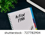 top view of open notebook... | Shutterstock . vector #727782904