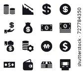16 vector icon set   coin stack ... | Shutterstock .eps vector #727784350