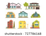 cottage and assorted real... | Shutterstock . vector #727786168