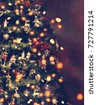 beautiful retro christmas tree. | Shutterstock . vector #727791214