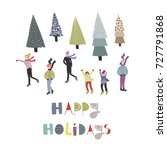 happy holidays. winter ice... | Shutterstock .eps vector #727791868