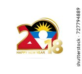 year 2018 with antigua and... | Shutterstock .eps vector #727794889