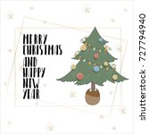 lettering with merry christmas. ... | Shutterstock .eps vector #727794940