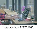 close up businessmen working at ... | Shutterstock . vector #727799140