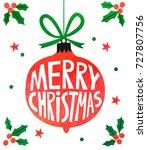 christmas watercolor card | Shutterstock . vector #727807756