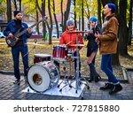 festival music band. friends...   Shutterstock . vector #727815880