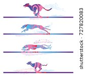 racing and running dogs and... | Shutterstock .eps vector #727820083