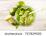 mojito cocktail on white wood... | Shutterstock . vector #727829050
