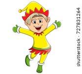 christmas elf cartoon | Shutterstock . vector #727831264