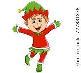 christmas elf cartoon | Shutterstock . vector #727831378