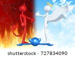 thumbs down devil thumbs up... | Shutterstock . vector #727834090