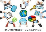 group of people with devices in ... | Shutterstock . vector #727834438