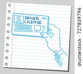 hand holding driver license | Shutterstock .eps vector #727839796