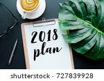 2018 plan text on notepad with... | Shutterstock . vector #727839928