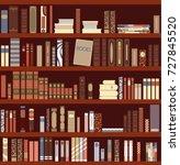 library book shelf background.... | Shutterstock .eps vector #727845520