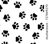 cats paw print. vector seamless ... | Shutterstock .eps vector #727849270