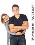 cute young couple in casual... | Shutterstock . vector #727851694