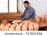 happy american artisan man... | Shutterstock . vector #727851958