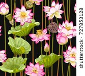 seamless pattern with lotus... | Shutterstock .eps vector #727853128