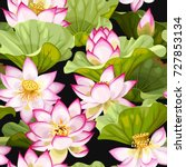 seamless pattern with lotus... | Shutterstock .eps vector #727853134
