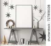 mock up poster in the christmas ... | Shutterstock . vector #727858108