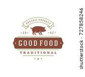 farmers market logo template... | Shutterstock .eps vector #727858246