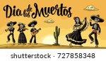 dia de los muertos lettering.... | Shutterstock .eps vector #727858348