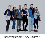 group of smiling friends... | Shutterstock . vector #727858954