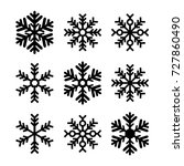 black snowflakes set isolated   ... | Shutterstock .eps vector #727860490