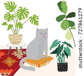 Stock vector cute cat and plants illustration 727861279