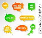 vector stickers  speech bubbles ... | Shutterstock .eps vector #727861918