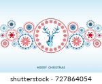 christmas red and blue ... | Shutterstock .eps vector #727864054