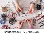 handmade jewelry making  female ...   Shutterstock . vector #727868608