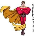 flying superhero over white... | Shutterstock .eps vector #727878010