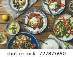 flat lay of healthy dinner... | Shutterstock . vector #727879690