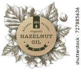 hazelnut oil paper label over... | Shutterstock .eps vector #727885636