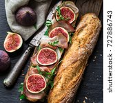 sandwich with figs and... | Shutterstock . vector #727886743