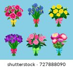 flowering bouquets set isolated ... | Shutterstock .eps vector #727888090