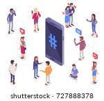 social media isometry concept... | Shutterstock .eps vector #727888378