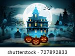 halloween background. scary old ... | Shutterstock .eps vector #727892833