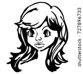 nice woman head. black and... | Shutterstock .eps vector #727896733
